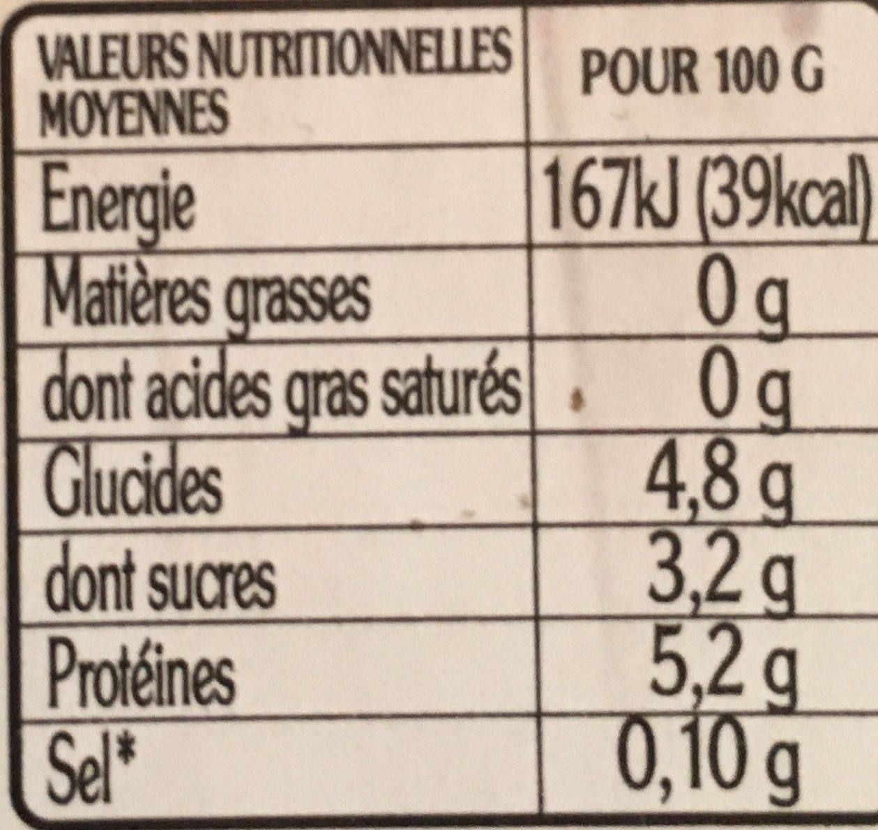 La faiselle - Información nutricional