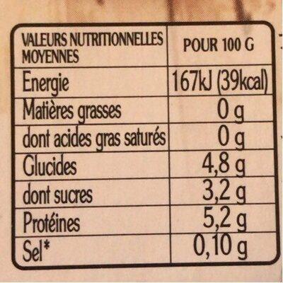 La faisselle 0% - Informations nutritionnelles - fr