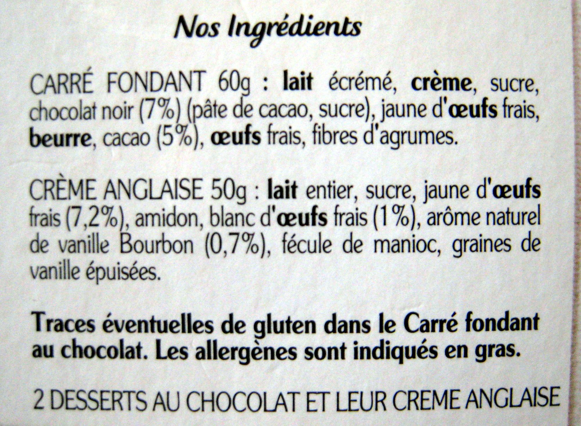 Le fondant au chocolat noir - Ingrédients - fr
