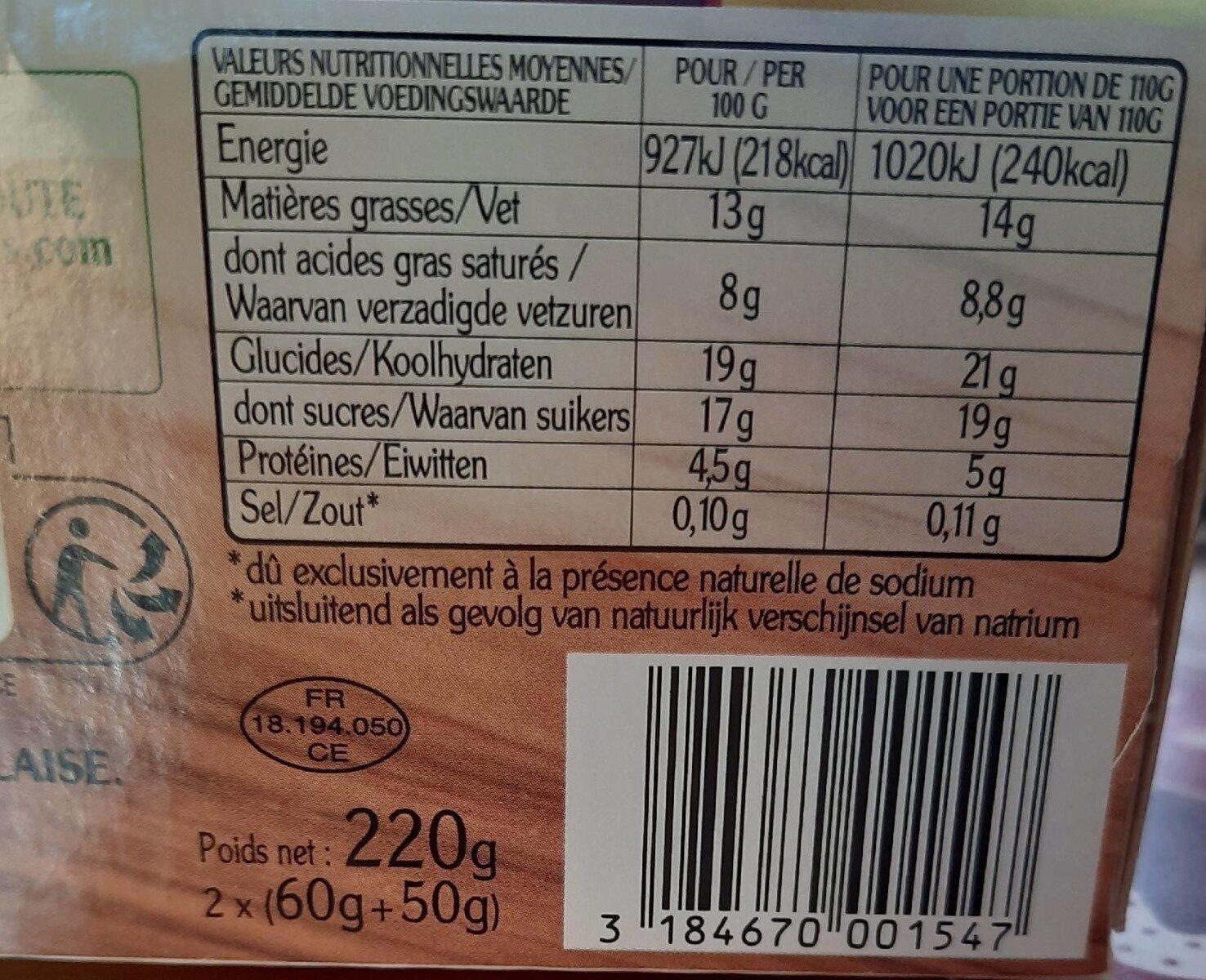 Le fondant au chocolat noir - Informations nutritionnelles - fr