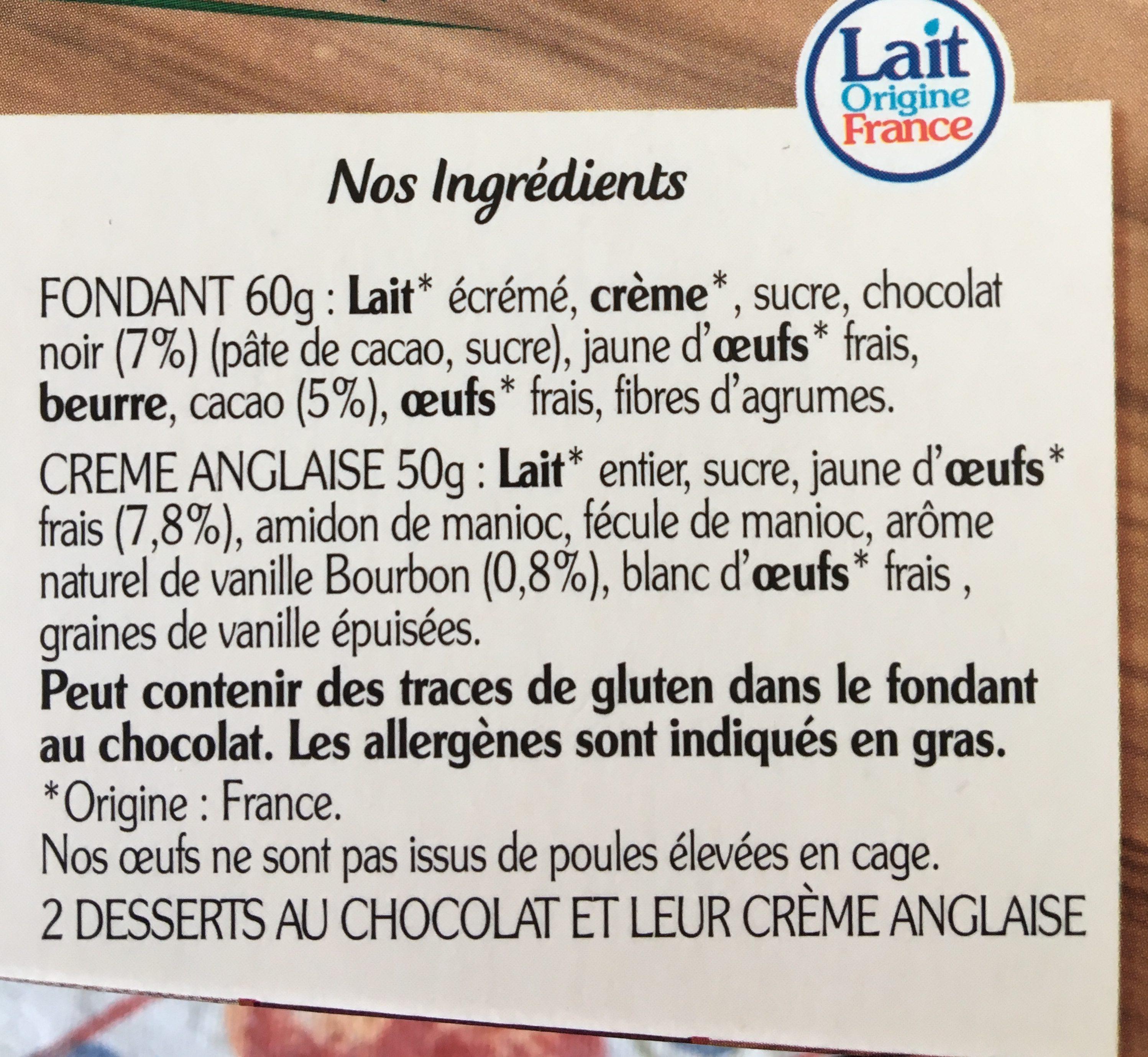 Le fondant au chocolat noir - Ingrediënten - fr