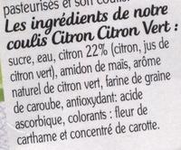 La Faisselle Coulis de Citron-Citron Vert - Ingrediënten