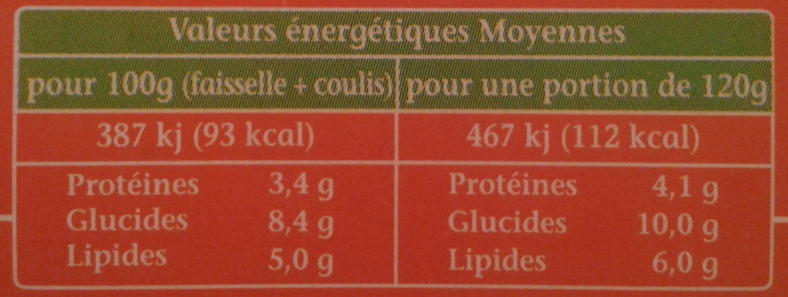 La Faisselle et son coulis Abricot-Pêche - Voedingswaarden - fr