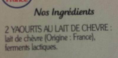Le Yaourt au lait de Chèvre (Nature) - (5 % MG) - Ingrédients