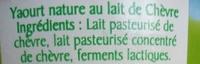Le yaourt au lait de chèvre - douceur nature - Ingrediënten