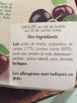 Yaourt au lait de brebis de Cerises Noires - Ingrédients