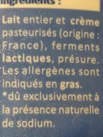 Fromage blanc - Ingrédients