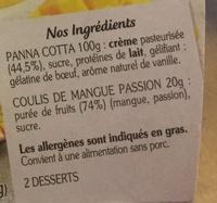 La Panna Cotta  et son coulis mangue passion - Ingrédients