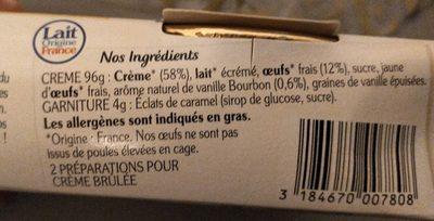 La crème brûlée - Ingrédients - fr