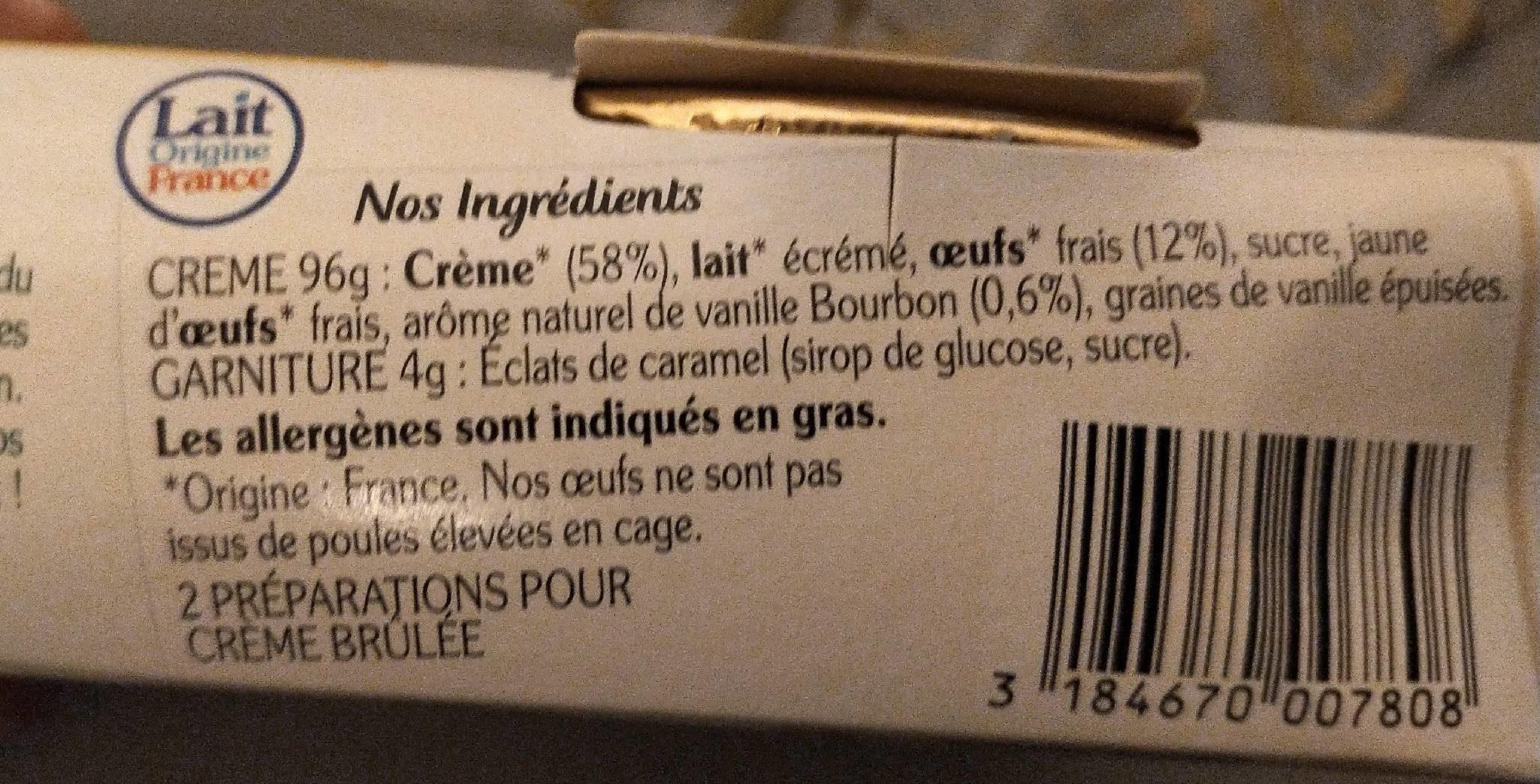 La crème brûlée - Ingredienti - fr