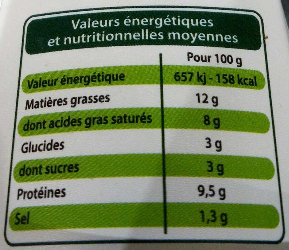Fromage de Chèvre Doux - Voedingswaarden