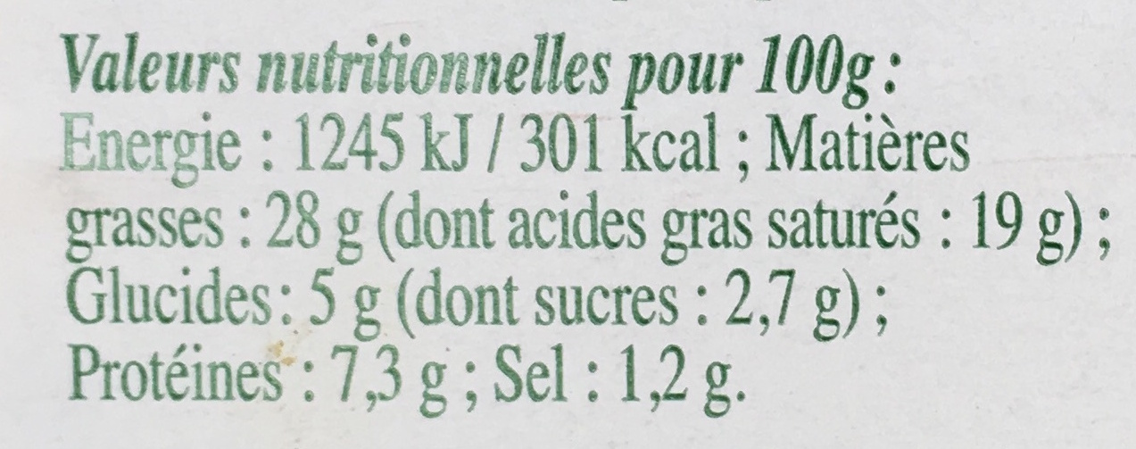 Le roulé - Spécialité fromagère ail et fines herbes au lait pasteurisé - Informations nutritionnelles - fr