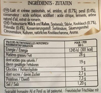 Le Roulé - Informazioni nutrizionali - fr