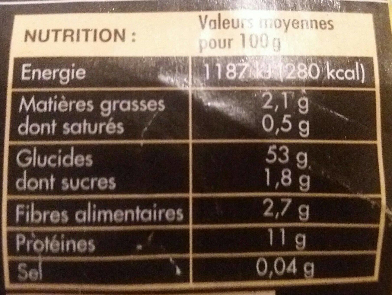 Fettuccini - Valori nutrizionali - fr