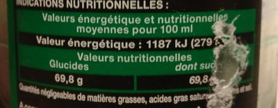 Bouteille 1L Sirop Menthe Saxo - Valori nutrizionali - fr