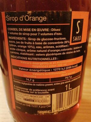 1L Sirop Orange Saxo - Valori nutrizionali - fr