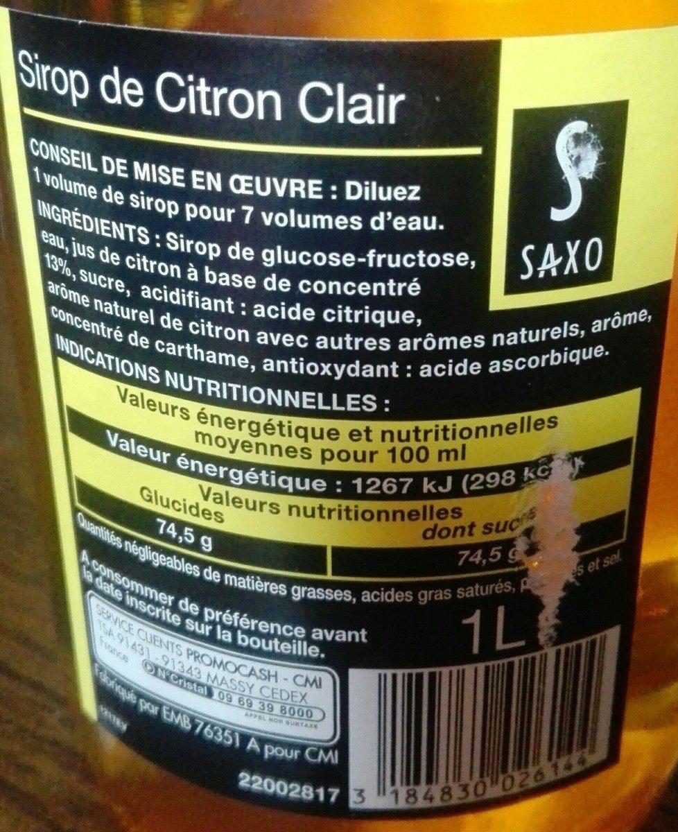 Sirop de Citron clair - Ingrediënten - fr