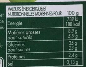 2.5L Creme Glacee Vanille En Cuisine - Informations nutritionnelles - fr