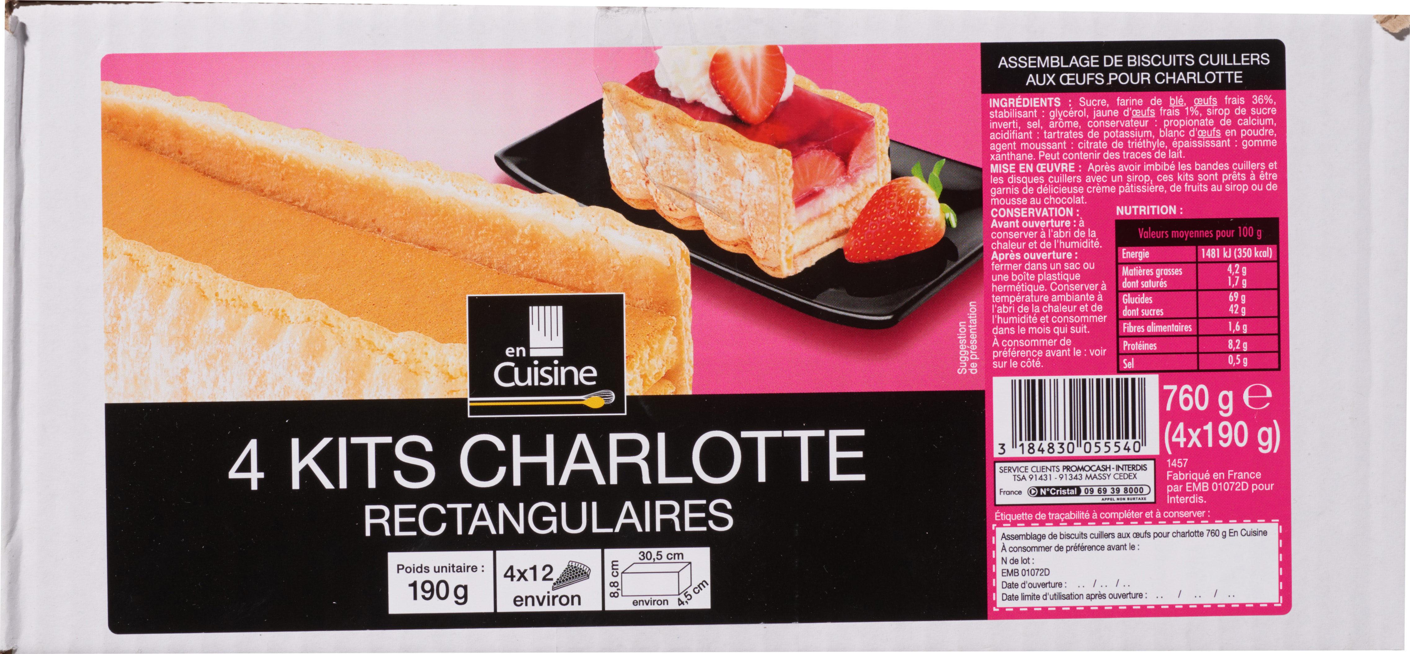 4 kits charlotte  rectangulaires - Produit