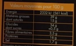 Choux Standard - Informations nutritionnelles