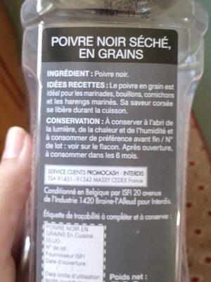 500G Poivre Noir Grain En Cuisine - Informations nutritionnelles - fr