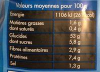 Pain De Mie Nature - Voedingswaarden - fr