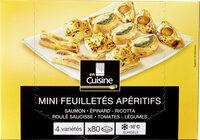 Mini feuilletés apéritifs saumon . épinard-ricotta . roulé saucisse . tomates-legumes - Product