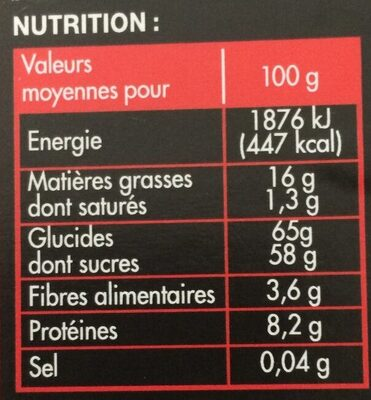 Nougat de Montélimar tendre - Valori nutrizionali - fr