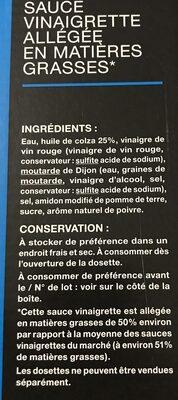 Sauce vinaigrette allegée - Ingredienti - fr