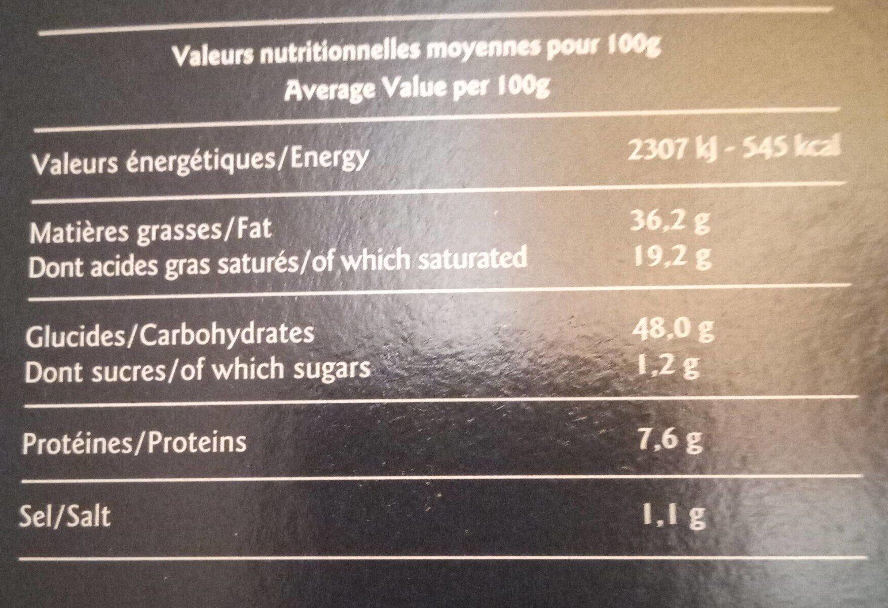 12 bouchées pâtissières - Informations nutritionnelles