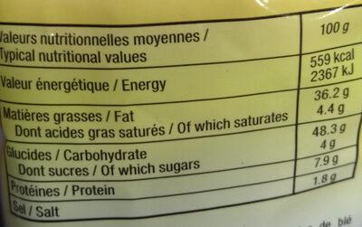 Croûtons croustillants goût fromage - Informations nutritionnelles