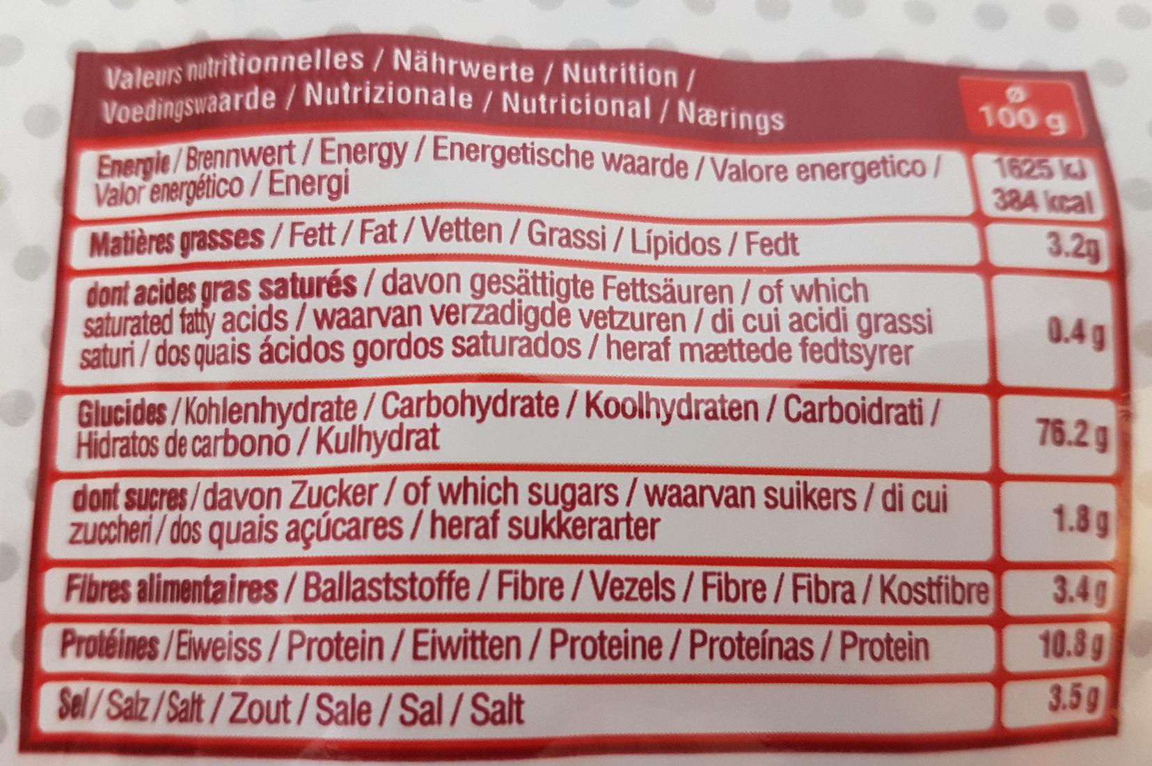 Sachet Mini Bretzels - Informations nutritionnelles - fr