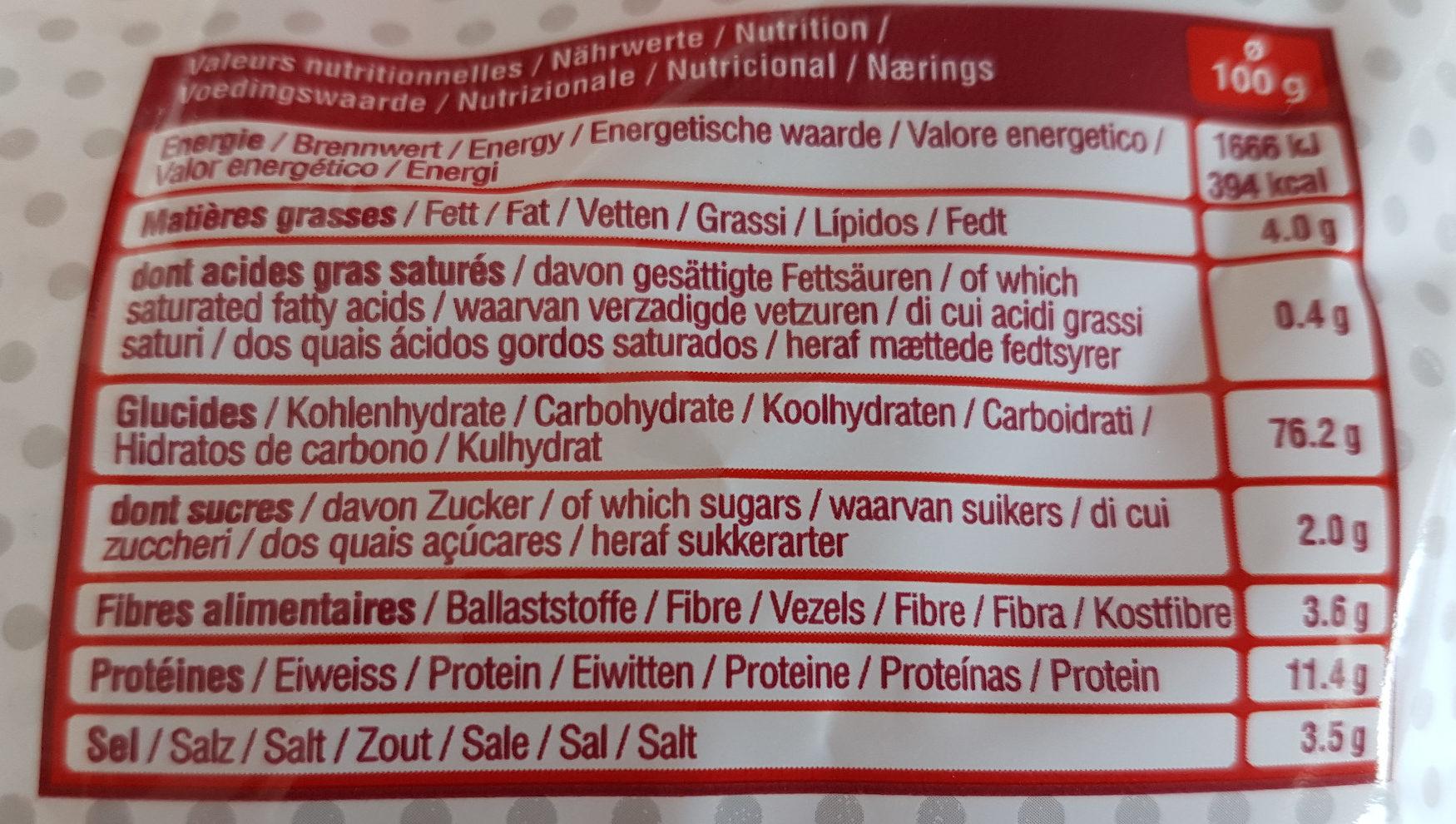 Sachet bretzels moyennes - Informations nutritionnelles - fr