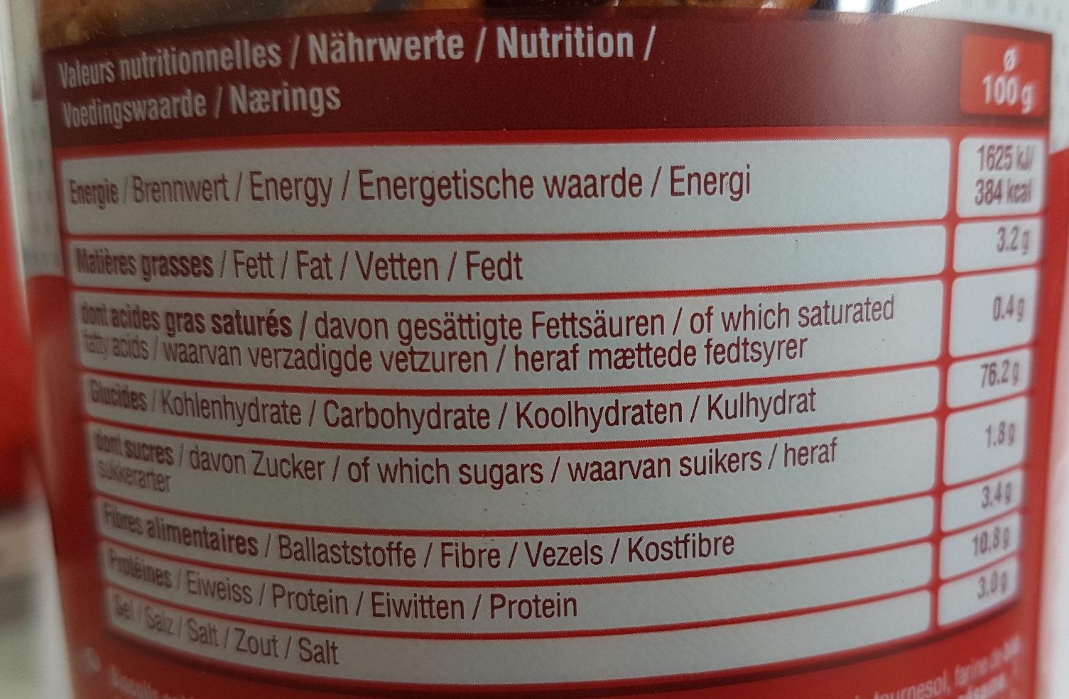 Tubo Sticks & Bretzels - Nutrition facts - fr