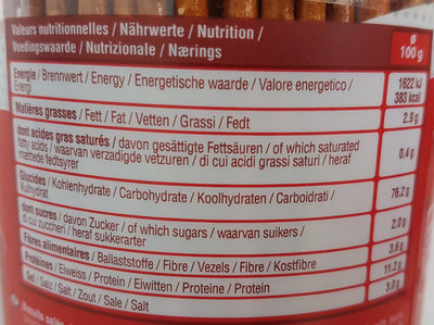 Tubo sticks/bretzels - Nutrition facts