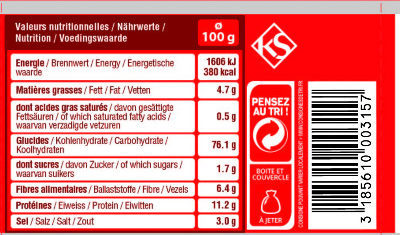 Cubi rondzels - Nutrition facts