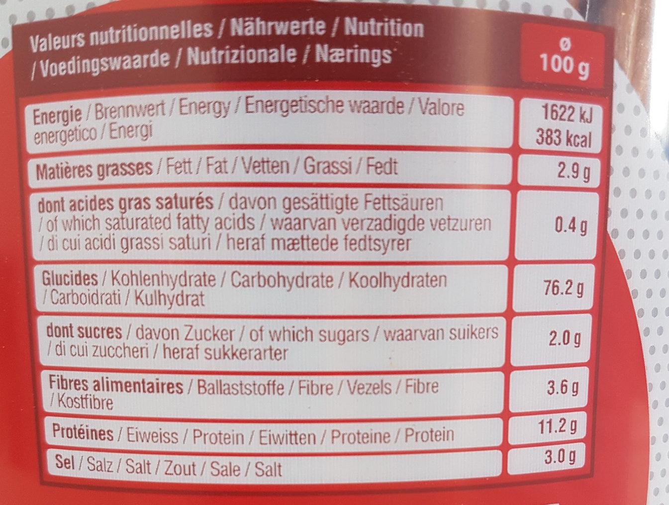 Tubo Sticks & bretzels d'Alsace - Informations nutritionnelles