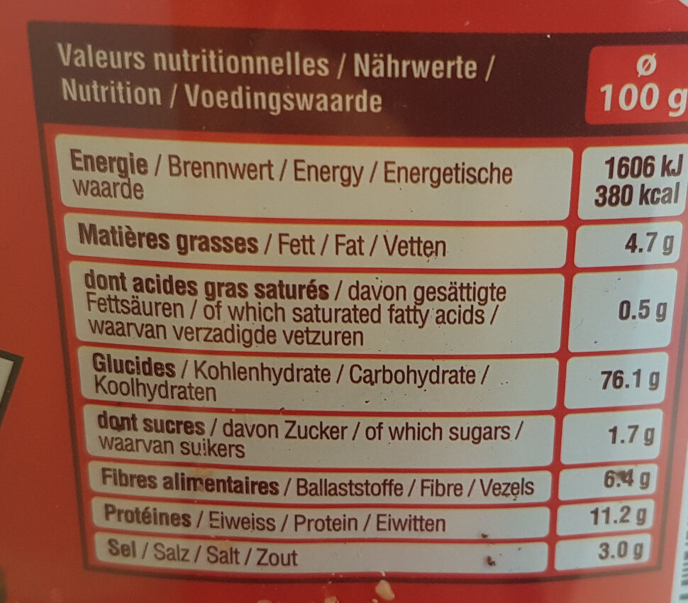 Tubo rondzels - Nutrition facts
