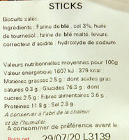 Sachet vrac sticks - Ingrédients - fr