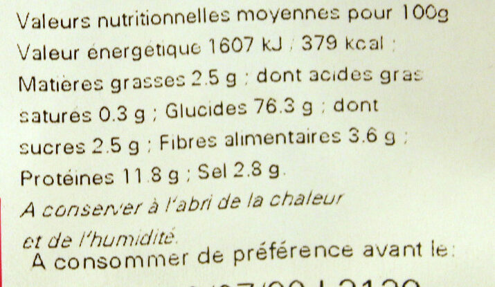 Sachet vrac sticks - Informations nutritionnelles - fr
