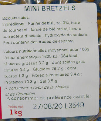 Sachet vrac Mini Bretzels - Ingrédients - fr