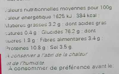 Sachet vrac Mini Bretzels - Informations nutritionnelles