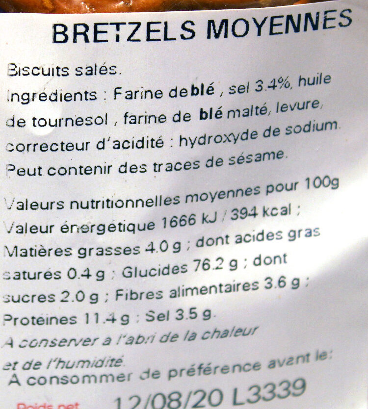 Sachet vrac bretzels moyennes - Ingredients
