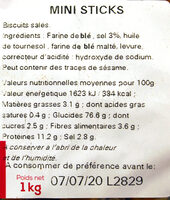Sac vrac mini sticks - Ingredients
