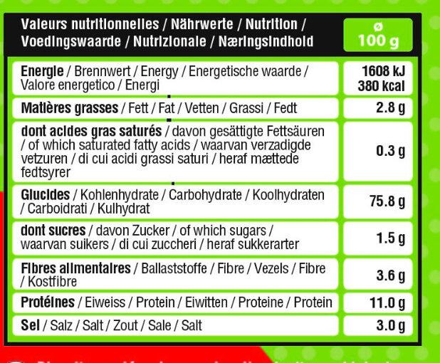 Sticks bio - Nutrition facts - en