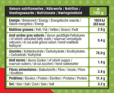 Mini Bretzels bio - Informations nutritionnelles