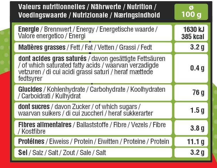 Tubo sticks/bretzels bio - Informations nutritionnelles - fr