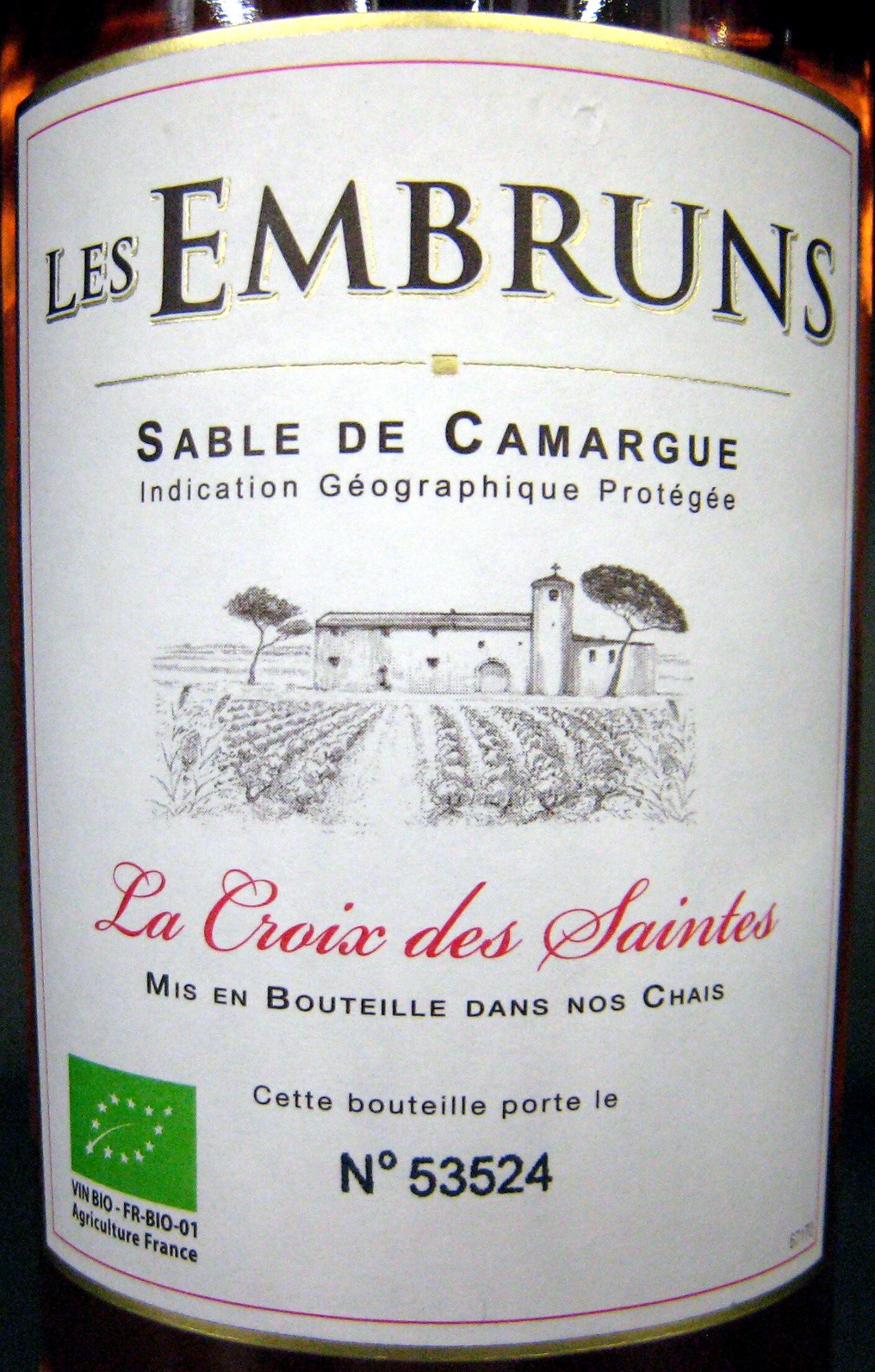 Les Embruns Sable de Camargue IGP La Croix des Saintes - Product