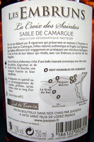 Les Embruns Sable de Camargue IGP La Croix des Saintes - Ingredients