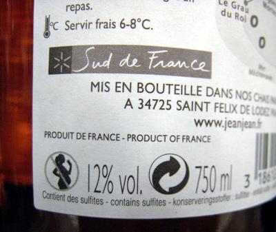 Les Embruns Sable de Camargue IGP La Croix des Saintes - Nutrition facts